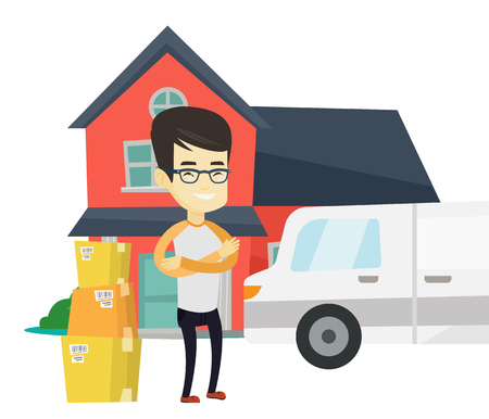 Asian homeowner unloading boxes. Homeowner standing in front of home. Young man moving to a new house. Homeowner unpacking removal truck. Vector flat design illustration isolated on white background. Illusztráció