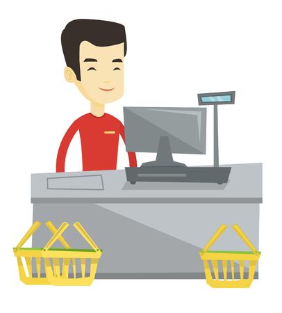 Jonge Aziatische kassier die zich bij de controle in de supermarkt. Kassier die bij controle in supermarkt werkt. Kassier die zich dichtbij kassa bevindt. Vector platte ontwerp illustratie op een witte achtergrond.