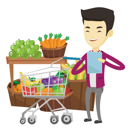 Young asian man checking shopping list. Smiling man holding shopping list near trolley with products. Happy man writing in shopping list. Vector flat design illustration isolated on white background. Illustration
