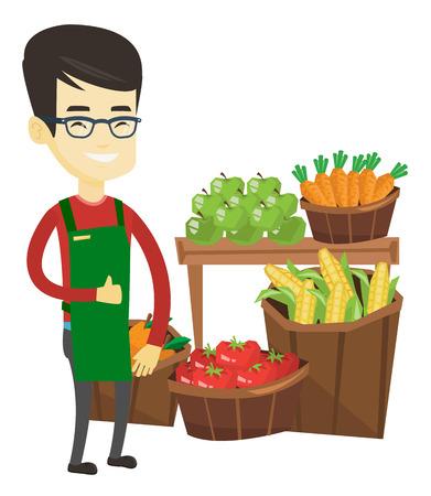 Lavoratore, supermercato, asiatico, dando, pollice, su. Supermercato lavoratore in piedi sullo sfondo delle mensole con verdure e frutta. Illustrazione di disegno piatto di vettore isolato su sfondo bianco.