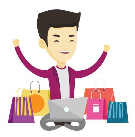 asian man laptop: Young asian man with hands up using laptop for shopping online. Happy man sitting with shopping bags around him. Man doing online shopping. Vector flat design illustration isolated on white background