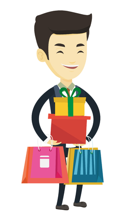 Happy asian man carrying shopping bags and gift boxes. Man holding shopping bags and gift boxes. Man standing with a lot of shopping bags. Vector flat design illustration isolated on white background.
