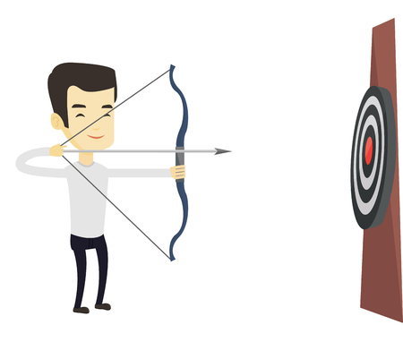 bowman: Asian sportsman shooting with bows during archery competition. Bowman aiming with bow and arrow at the target. Archer practicing with bow. Vector flat design illustration isolated on white background.