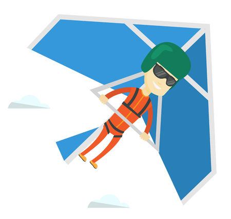 Asian man flying on hang-glider. Sportsman taking part in hang gliding competitions. Man having fun while gliding on delta-plane in sky. Vector flat design illustration isolated on white background.