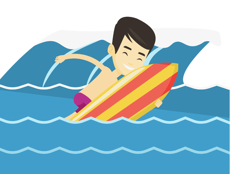 Young asian man having fun during execution of a move on ocean wave. Surfer in action on surf board. Lifestyle and water sport concept. Vector flat design illustration isolated on white background. Vettoriali