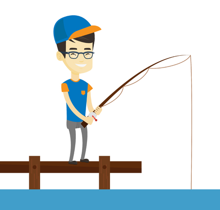 Young asian man relaxing during fishing on jetty. Fisherman fishing on lake. Smiling angler standing on jetty with fishing-rod in hands. Vector flat design illustration isolated on white background. Illustration