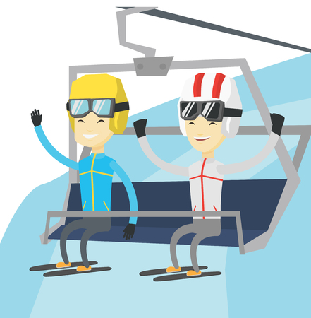 Two young asian men sitting on ski elevator. Skiers using cableway at ski resort. Skiers on cableway in mountains at winter sport resort. Vector flat design illustration isolated on white background. Illustration