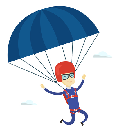 descending: Asian man flying with a parachute. Young man paragliding on parachute. Professional parachutist descending with parachute in the sky. Vector flat design illustration isolated on white background. Illustration