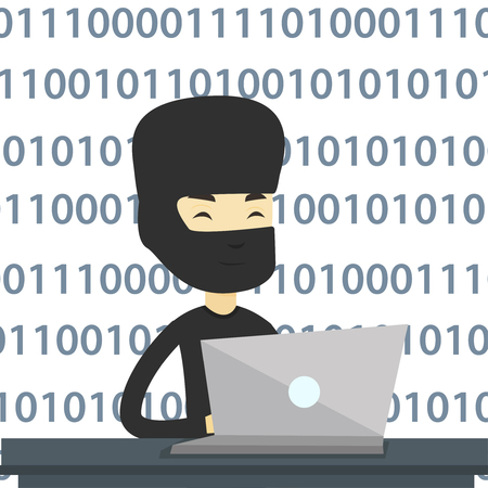 asian man laptop: Hacker in mask working on laptop on the background with binary code. Hacker using laptop to steal data and personal identity information. Vector flat design illustration isolated on white background. Illustration