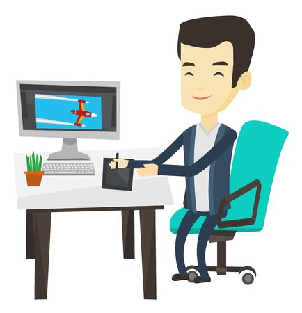 Man sitting at desk and drawing on graphics tablet. Graphic designer using graphics tablet, computer and pen. Graphic designer at work. Vector flat design illustration isolated on white background. Illustration