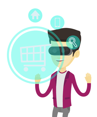 Asian man in virtual reality headset looking at shopping cart icon. Man doing online shopping. Virtual reality and shopping online concept. Vector flat design illustration isolated on white background Illustration