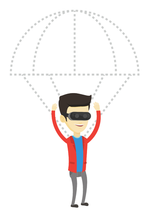 Young asian man wearing virtual reality glasses and flying with parachute. Man in vr headset having fun while flying in virtual reality. Vector flat design illustration isolated on white background. Illustration