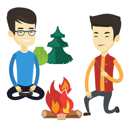 Two asian friends sitting around campfire. Friends having fun in camping. Tourists relaxing near campfire. Concept of travel and tourism. Vector flat design illustration isolated on white background.