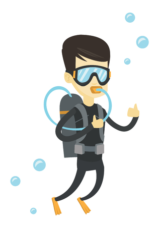 flippers: Young asian man in diving suit snorkeling and giving thumb up. Man diving with scuba and showing ok sign. Man enjoying the diving. Vector flat design illustration isolated on white background. Illustration