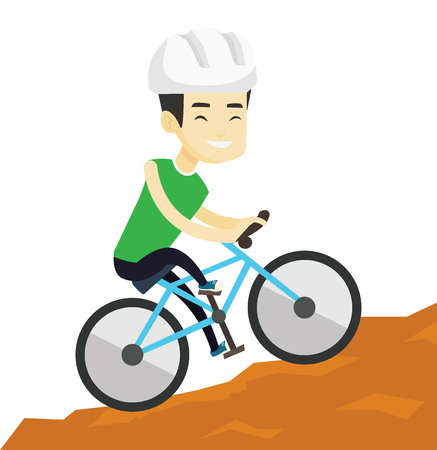 Extreme asian tourist riding on mountain bicycle. Young confident male tourist in helmet traveling in the mountains on a mountain bicycle. Vector flat design illustration isolated on white background. Reklamní fotografie - 76043490