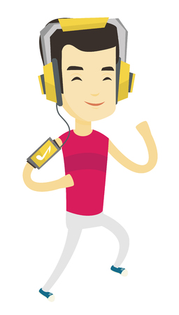 Asian man running with earphones and armband for smartphone. Young happy man using armband for smartphone to listen to music while running. Vector flat design illustration isolated on white background