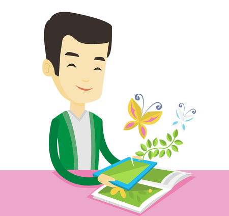 touchpad: Asian man holding digital tablet above the book. Man looking at butterflies flying out from digital tablet. Concept of agmented reality. Vector flat design illustration isolated on white background.