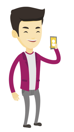 Young asian man holding ringing mobile phone. Smiling man answering a phone call. Man standing with ringing phone in hand. Vector flat design illustration isolated on white background.