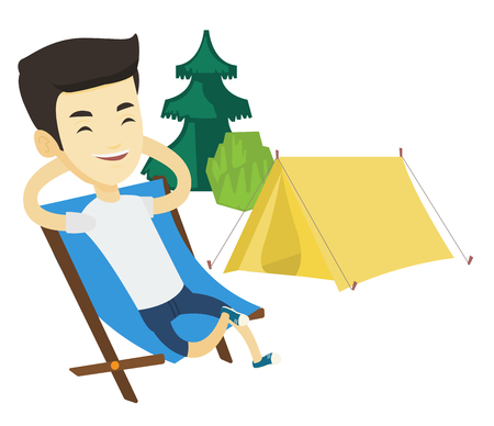 Young asian man relaxing in camping. Smiling man sitting in chair on the background of camping site. Man enjoying his vacation in camping. Vector flat design illustration isolated on white background. Ilustrace