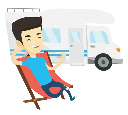 Young asian man sitting in folding chair and giving thumb up on the background of camper van. Smiling man enjoying vacation in camper van. Vector flat design illustration isolated on white background. Vectores
