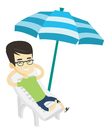 Young asian man sitting in beach chair. Man resting on holiday while sitting under umbrella on a beach chair. Happy man relaxing on beach. Vector flat design illustration isolated on white background.
