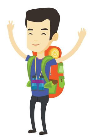 Asian smiling backpacker celebrating success with raised hands. Full length of young cheerful backpacker with raised hands. Vector flat design illustration isolated on white background.