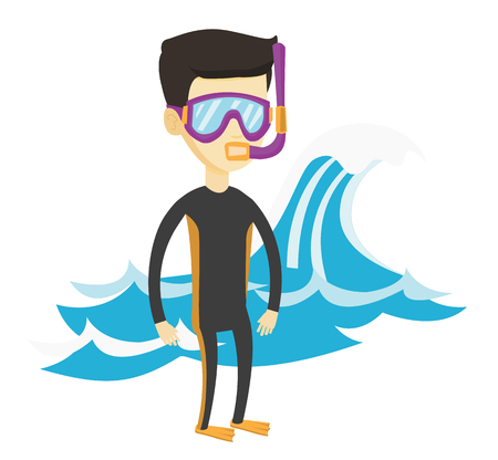 Asian man in diving suit, flippers, mask and tube standing on the background of wave. Man enjoying snorkeling. Diver ready for snorkeling. Vector flat design illustration isolated on white background. Illustration
