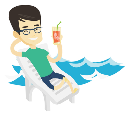 Asian cheerful man drinking a cocktail on a beach chair. Young man sitting on a beach chair. Man resting on a beach chair with cocktail. Vector flat design illustration isolated on white background.