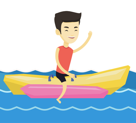 Tourists riding a banana boat and waving hand. Young asian man having fun on banana boat in the sea. Man enjoying his summer vacation. Vector flat design illustration isolated on white background. Illustration