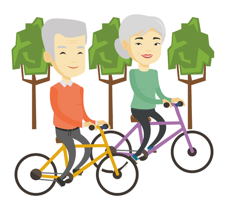 Asian couple riding bikes in park. Senior couple riding on bicycles in park. Senior husband and wife enjoying walk with bicycles in park. Vector flat design illustration isolated on white background.