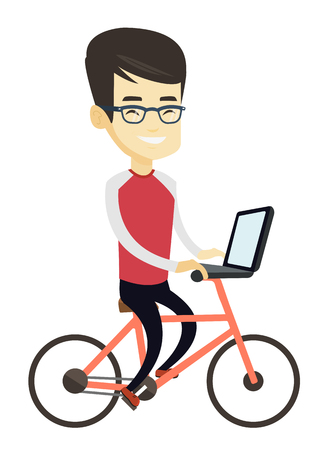 Asian business man riding a bicycle to work. Business man with laptop on a bike. Business man working on a laptop while riding a bicycle. Vector flat design illustration isolated on white background.
