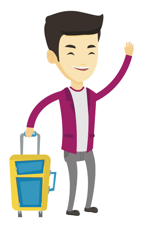 Asian man with suitcase hitchhiking. Hitchhiking man trying to stop a car on a highway. Young man catching taxi car by waving his hand. Vector flat design illustration isolated on white background.
