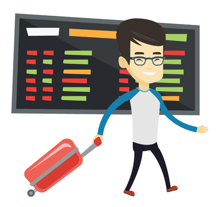 Asian man walking at the airport. Passenger with suitcase walking on the background of schedule board. Man pulling suitcase in airport. Vector flat design illustration isolated on white background.