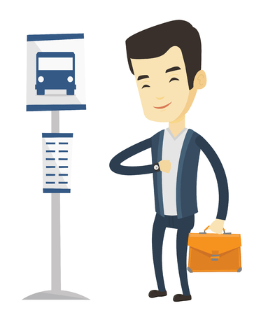 Asian businessman waiting at the bus stop. Young businessman standing at the bus stop. Business man looking at his watch at the bus stop. Vector flat design illustration isolated on white background. Illusztráció