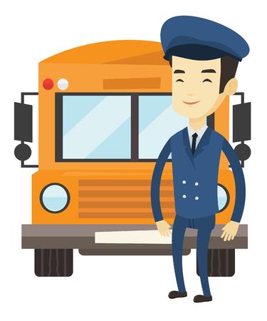 Conductor de autobús escolar asiático joven que se coloca delante del autobús amarillo. Sonriendo el conductor del autobús escolar en uniforme. Alegre conductor de autobús escolar. Ilustración de diseño plano de vector aislado sobre fondo blanco.