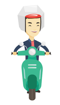 Young asian man in helmet riding a scooter outdoor. Man traveling on a scooter. Front view on a happy man enjoying his trip on a scooter. Vector flat design illustration isolated on white background. Ilustrace