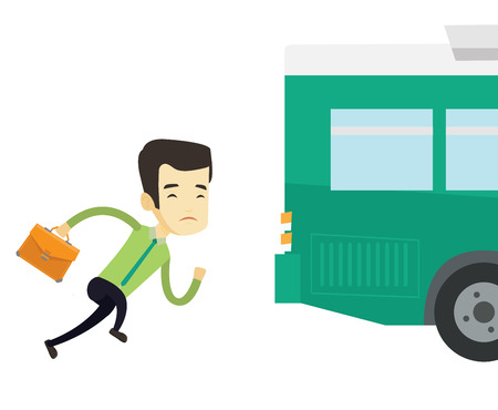 Upset asian business man running for an outgoing bus. Businessman running to catch bus. Sad latecomer business man running to reach a bus. Vector flat design illustration isolated on white background.