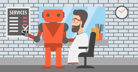 barbershop: Robot barber making haircut to a hipster man. Illustration