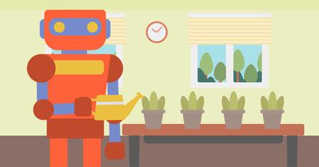 Robot housekeeper watering flowers. Ilustração