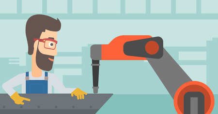 automate: Man working on industrial welding robotic arm.