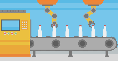 industrial machinery: Robotic arm working on conveyor belt with bottles.