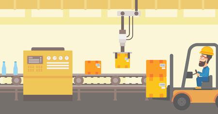 Le bras robotique soulève des boîtes en carton et les empile sur un chariot élévateur. Ligne de production robotique automatisée pour l'emballage de bouteilles dans des boîtes en carton. Vector illustration de conception plate. Disposition horizontale. Banque d'images - 76252852