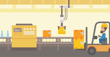 conveyor system: Robotic arm raises cardboard boxes and stacks them on forklift truck. Automated robotic production line for packaging of bottles in cardboard boxes. Vector flat design illustration. Horizontal layout.