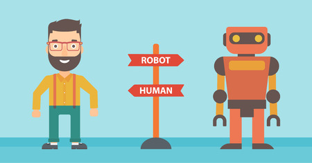 vs: Young caucasian man and robot standing at road sign with two pathways - human and robot. Concept of choice between artificial intelligence and human. Vector flat design illustration. Horizontal layout