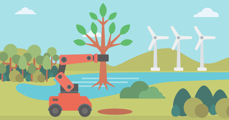 Robot machine holding a big tree. Robot machine plants a big tree. Robot machine used for tree transplantation. Environmental conservation concept. Vector flat design illustration. Horizontal layout.