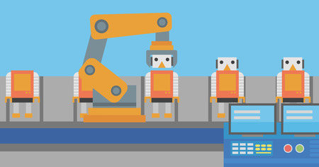 Factory production line with toy people. Automated robotic production line for assembly of toys. Robotic arm working on toy factory production line. Vector flat design illustration. Horizontal layout.