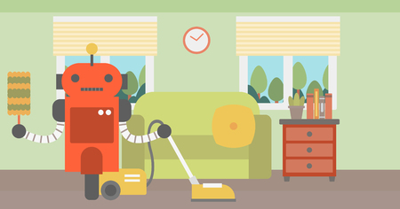 Domestic robot using a vacuum cleaner. Domestic personal robot cleaning carpet with vacuum cleaner in living room. Robot with vacuum cleaner at home. Vector flat design illustration. Horizontal layout