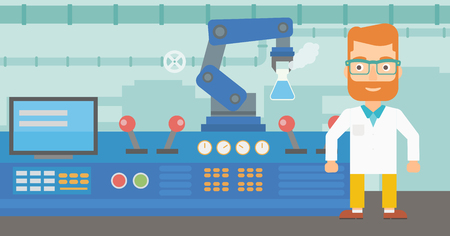 Caucasian hipster scientist and robotic arm conducting experiments in a modern laboratory. Robotic arm working in the laboratory with the test tube. Vector flat design illustration. Horizontal layout.