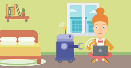 Young caucasian female engineer programming a domestic personal robot on her laptop. Female engineer examining her newly built robot. Vector flat design illustration. Horizontal layout. programmer