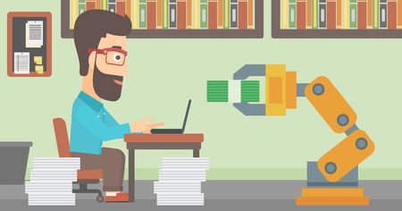 Caucasian engineer programming a robotic hand on his laptop in office. Engineer receiving a profit from the development of robotic technologies. Vector flat design illustration. Horizontal layout. Çizim
